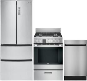 "4-Piece Stainless Steel Kitchen Package with HRF15N3AGS 28"" French Door Refrigerator, HCR2250AES 24"" Freestanding Electric Range, HCH2100ACS 24"" Wall Mount Hood, DWL7075MSS 24"" Fully Integrated Dishwasher"