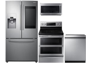 "4-Piece Stainless Steel Kitchen Package with RF265BEAESR 36"" French Door Refrigerator, NE59J7750WS 30"" Freestanding Electric Range, DW80M9550US 24"" Fully Integrated Dishwasher and ME21K7010DS 30"" Over-the-Range Microwave"
