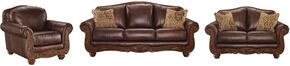 Mellwood Collection 64605SLC 3-Piece Living Room Set with Sofa, Loveseat and Living Room Chair in Walnut