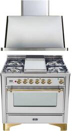 "2-Piece Stainless Steel Kitchen Package with UM90FDMPI 36"" Freestanding Dual Fuel Range (Brass Trim, 4 Burners, Griddle) and UAM90I 36"" Wall Mount Range Hood"