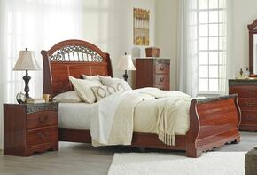 Fairbrooks Estate Queen Bedroom Set with Sleigh Bed and Nightstand in Reddish Brown Color