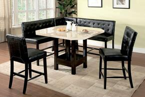 Bahamas CM3427PT-SET 6-Piece Counter Height Dining Set with Table + 2 Chairs + 2 Two-Seaters + Corner Chair in Black