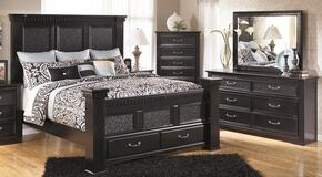 Cavallino Queen Bedroom Set with Poster Storage Bed, Dresser and Mirror in Black