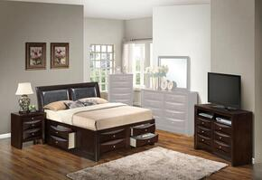 G1525IQSB4NTV2 3 Piece Set including  Queen Size Bed, Nightstand and Media Chest  in Cappuccino