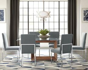 Jackson Collection 107141GY 7 PC Dining Room Set with Dining Table + 6 Grey Upholstered Side Chairs in Walnut Finish