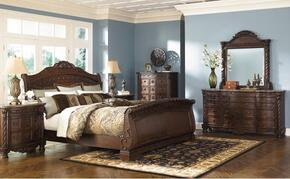North Shore Collection Queen Bedroom Set with Sleigh Bed, Dresser, Mirror and Chest in Dark Brown