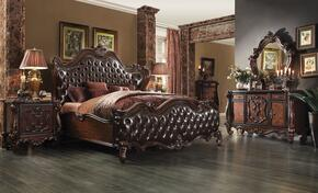 21117EK6PC Versailles 6PC Bedroom Set with Eastern King Size Bed + Dresser + Mirror + Chest + 2 Nightstands in Cherry Oak