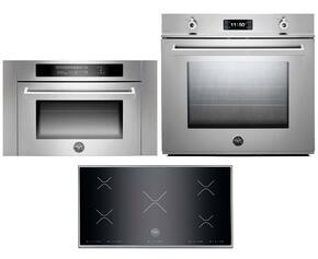 "Professional Series F30PROXT 30"" Single Electric Wall Oven 3-Piece Stainless Steel Kitchen Package with P365IX 36"" Electric Cooktop and SO24PROX Built-In Microwave"