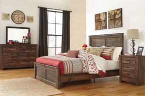 Quinden King Bedroom Set with Panel Bed, Dresser, Mirror and Nightstand in Dark Brown