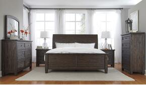 Conrad Collection King Bedroom Set with Panel Bed, Dresser, Mirror, 2 Nightstands and Chest in Dark Brown