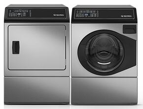 "Stainless Steel Front Load Laundry Pair with AFNE9BSS 27"" Washer and ADGE9BSS 27"" Gas Dryer"