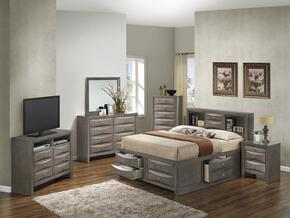 G1505GKSB3CHDMNTV2 6 Piece Set including  King Size Bed, Chest, Dresser, Mirror, Nightstand and Media Chest  in Gray