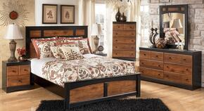 Tucker Collection Full Bedroom Set with Panel Bed, Dresser, Mirror and Nightstand in Two Tone Brown