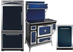 """3-Piece Blue Kitchen Package with HCBMR19LCBL 30"""" Bottom Freezer Refrigerator, 6210CD0CBL 48"""" Freestanding Electric Range, and HCDWI1CBL 24"""" Fully Integrated Dishwasher"""