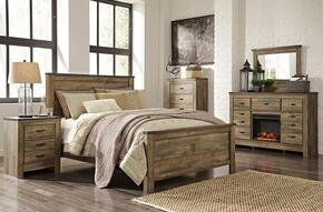 Trinell Queen Bedroom Set with Panel Bed, Dresser, Mirror and Nightstand in Brown