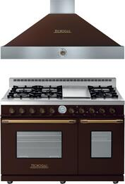 "Deco 2-Piece Brown with Brass Accent Kitchen Package with RD482GCMB 48"" Freestanding Gas Range and HD481ACMB 48"" Wall Mount Range Hood"