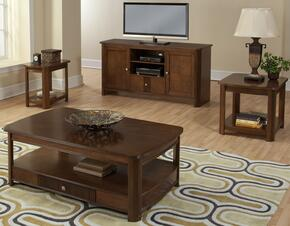 30712CEEC Leighla 4 Piece Occasional and Entertainment Table Set with Cocktail Table, End Table, Chairside End Table and Entertainment Console, in Chestnut