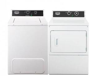 """2 Piece Laundry Pair with MVW18MNBWW 27"""" Top Load Washer and MDE18MNAYW 27"""" Electric Dryer in White"""