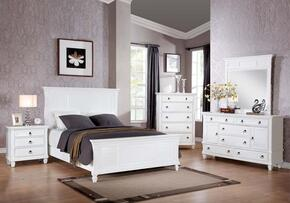 Merivale 22417EK5PC Bedroom Set with Eastern King Size Bed + Dresser + Mirror + Chest + Nightstand in White Color