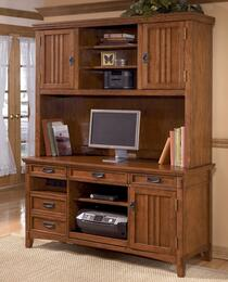 Cross Island H3194649SET Home Office Desk Set with Large Credenza and Tall Hutch in Medium Brown Finish