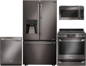 "Studio Series 4-Piece Kitchen Package With LSFXC2476D 36"" Counter Depth French Door Refrigerator, LSSE3029BD 30"" Slide-in Electric Range, LSMC3089BD 30"" Over the Range Microwave Oven and LSDF9969BD 24"" Built In Dishwasher in Black Stai"