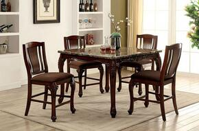 Johannesburg Collection CM3873PT4SC 5-Piece Dining Room Set with Square Table and 4 Bar Stools in Brown Cherry Finish