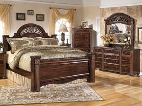 Gabriela King Bedrrom Set with Poster Bed, Dresser, Mirror and Chest in Dark Reddish Brown
