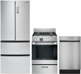 "4-Piece Stainless Steel Kitchen Package with HRF15N3AGS 28"" French Door Refrigerator, HCR2250AES 24"" Freestanding Electric Range, HCH2100ACS 24"" Wall Mount Hood, QDT125SSKSS 18"" Fully Integrated Dishwasher"