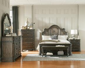 Carlsbad 204041KEDMCNB 6 PC Bedroom Set with Eastern King Size Bed + Dresser + Mirror + Chest + Nightstand + Bench in Vintage Espresso Finish