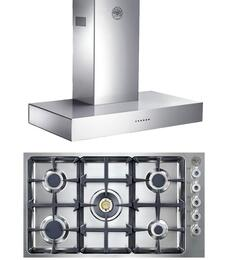 "2-Piece Stainless Steel Kitchen Package with QB36500X 36"" Gas Cooktop and K36CONX 36"" Wall Mount Canopy Range Hood"