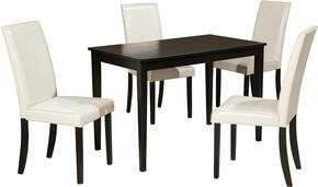 Mia Collection 5-Piece Dining Room Set with Rectangular Dining Table and 4 Side Chairs in Ivory