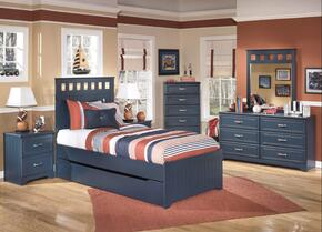 Jamarion Collection Full Bedroom Set with Panel Bed, Dresser, Nightstand and Mirror in Blue