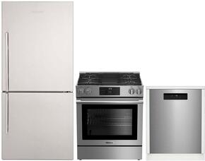 "3-Piece Kitchen Package with BRFB1812SSN 30"" Bottom Freezer Refrigerator, BGR30420SS 30"" Slide-in Gas Range, and a free DWT25502SS 24"" Built In Fully Integrated Dishwasher in Stainless Steel"