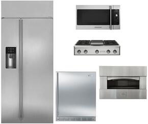 """5-Piece Stainless Steel Kitchen Package with ZISS420DKSS 42"""" Side by Side Refrigerator, ZGU364NDPSS 36"""" Gas Rangetop, ZEP30SKSS 30"""" Pizza Oven, ZSA1201JSS 30"""" Over the Range Microwave, and ZIBS240HSS 24""""  Compact Refrigerator"""