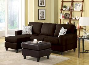 Vogue 05907ASO 2 PC Living Room Set with Reversible Chaise Sectional + Ottoman in Chocolate Color