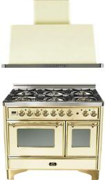 "2-Piece Antique White Kitchen Package with UMD1006DMPA 40"" Freestanding Dual Fuel Range (Brass Trim, 6 Burners, Timer)   and UAM100A 40"" Wall Mount Range Hood"