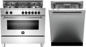 "2-Piece Stainless Steel Kitchen Package with MAS365GASXELP 36"" Freestanding Liquid Propane Range, and DW24XV 24"" Fully Integrated Dishwasher with Master Handle"