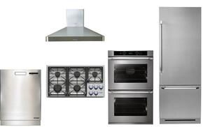 "5 Piece Stainless Steel Kitchen Package With DYCT365GBLPH 36"" Gas Cooktop, RNO230S208V 30"" Electric Cooktop, DYF30BFBSR 30"" Bottom Freezer Refrigerator, DHW301 Range Hood and DDW24S 24"" Built In Dishwasher"