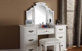 90026KIT Vanity with Stool and Tri-Fold Vanity Mirror in Torian White
