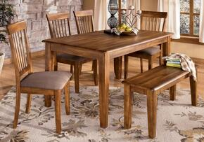 D19925 Berringer Rectangular Table with Four Chairs, One Bench, Antique Hardware, Selected Veneers and Hardwood Solids in Hickory Satin