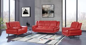 U9908-R6V-RED-SLCH 3-Piece Living Room Set with Sofa, Loveseat and Chair in Red