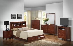 G2400DKSB2SET 6 PC Bedroom Set with King Size Storage Bed + Dresser + Mirror + Chest + Nightstand + Media Chest in Cherry Finish