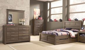 Juararo Full Bedroom Set with Panel Storage Bed, Dresser and Mirror in Dark Brown