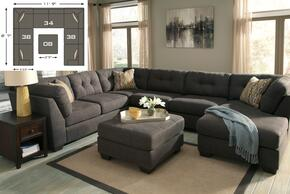 Delta City 19700-08-34-38(2) 2-Piece Living Room Set with 3PC Sectional Sofa and Ottoman in Steel Color
