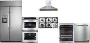 "Dacor 6 Piece Kitchen Package With DYCT365GWLPH 36"" Gas Cooktop, DYF42BSIWS 42"" Refrigerator, RNO230S 30"" Wall Oven, RNF242WCL 24"" Wine Cooler, DHW361 36"" Range Hood, RDW24S 24"" Built-In Dishwasher and ARDWP24H Pro Handle"