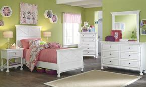 Kaslyn Twin Bedroom Set with Panel Bed, Dresser, Mirror and Nightstand in White