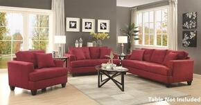 Samuel Sofa Collection 5051853PC 3-Piece Living Room Set with Sofa, Love Seat and Chair in Crimson Finish