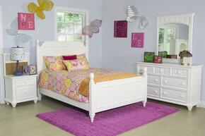 Summertime 846663031105SET 5 PC Bedroom Set with Twin Size Poster Bed + Dresser + Mirror + Nightstand + Nightstand Back Panel in White Color