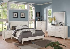Tyler 22550F5PC Bedroom Set with Full Size Bed + Dresser + Mirror + Chest + Nightstand in White Color