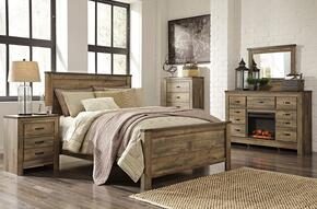 Trinell Queen Bedroom Set with Panel Bed, Dresser, Mirror, 2 Nightstands and Chest in Brown